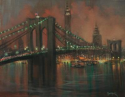 Brooklyn Bridge Painting - The Brooklyn Bridge by Tom Shropshire