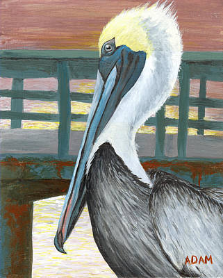 Surf Painting - The Brown Pelican by Adam Johnson