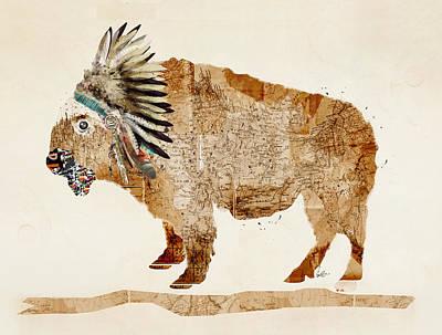 Bison Digital Art - The Buffalo by Bri B
