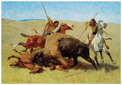Master Painting - The Buffalo Hunt by Frederic Remington