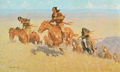 The Buffalo Runners Big Horn Basin Print by Frederic Remington
