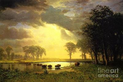 Yak Painting - The Buffalo Trail by Bierstadt Albert