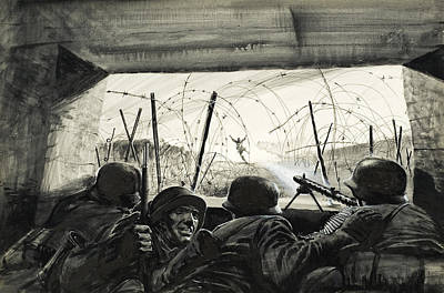 Barbed Wire Painting - The Bunker  by Graham Coton