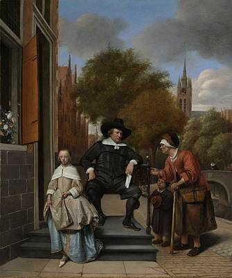 Adolf Painting - The Burgomaster Of Delft And His Daughter by Celestial Images
