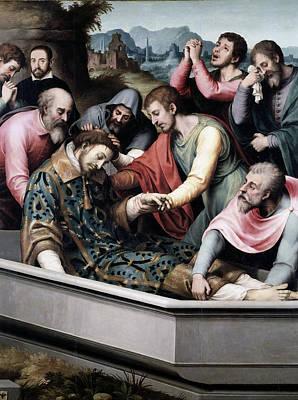 The Burial Of Saint Stephen Print by Juan de Juanes