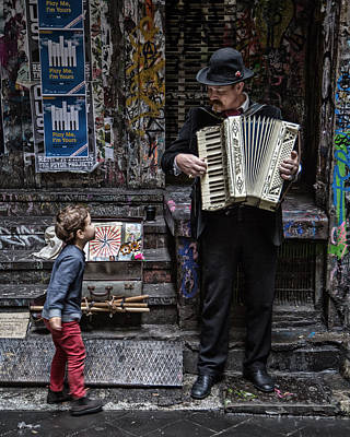 The Busker And The Boy Print by Vince Russell