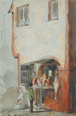 Tonalist Painting - The Butcher's Shop  by James Abbott McNeill Whistler
