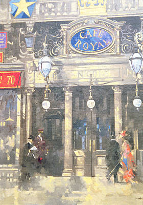 Gas Lamp Painting - The Cafe Royal by Peter Miller