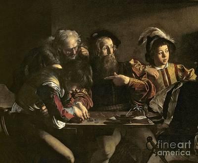 Caravaggio Painting - The Calling Of St. Matthew by Michelangelo Merisi da Caravaggio