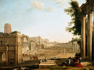 Italian Landscape Painting - The Campo Vaccino, Rome by Claude Lorrain