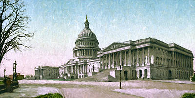 The Capitol At Washington Print by John K Woodruff