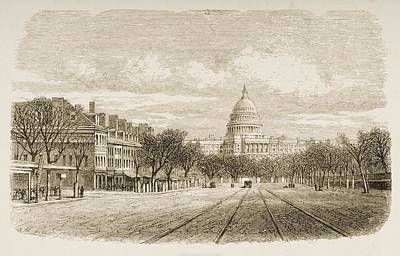 Washington Dc Drawing - The Capitol Building Washington Dc In by Vintage Design Pics