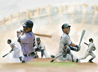 Athletes Drawing - The Captains II Don Mattingly And Derek Jeter by Iconic Images Art Gallery David Pucciarelli