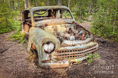 Scrap Metal Yard Photograph - The Car In The Forest by Martin Bergsma
