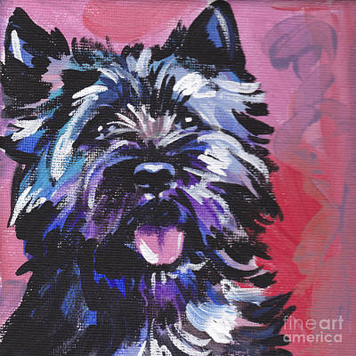 Dog Portrait Painting - The Caring Cairn by Lea S
