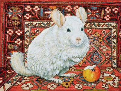 Gerbil Painting - The Carpet Chinchilla by Ditz