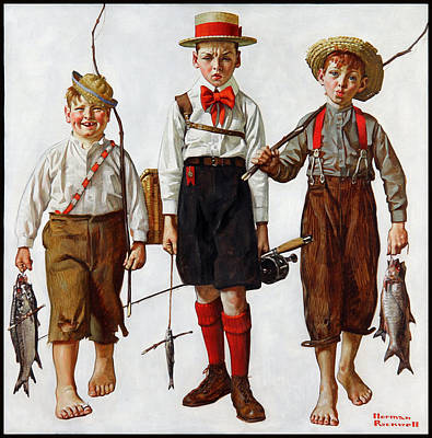 The Catch Painting - The Catch by Norman Rockwell