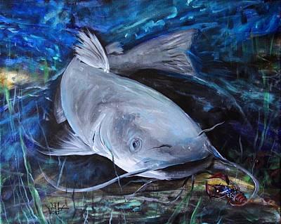 Catfish Painting - The Catfish And The Crawdad by J Vincent Scarpace