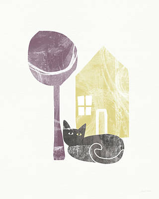 House Pet Painting - The Cat's House- Art By Linda Woods by Linda Woods