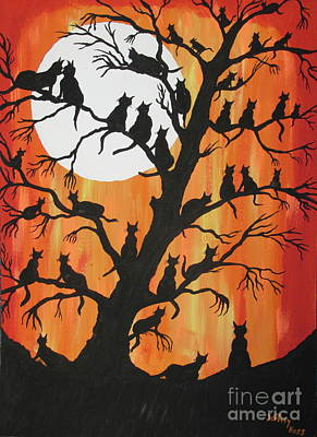 Cat And Moon Painting - The Cats On Night Watch by Jeffrey Koss