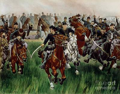 19th Century Painting - The Cavalry by WT Trego
