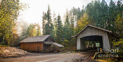 Grist Mill Photograph - The Cedar Creek Grist Mill And Bridge. by Jamie Pham