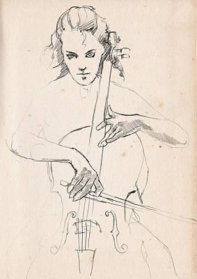 The Cellist  Print by H James Hoff
