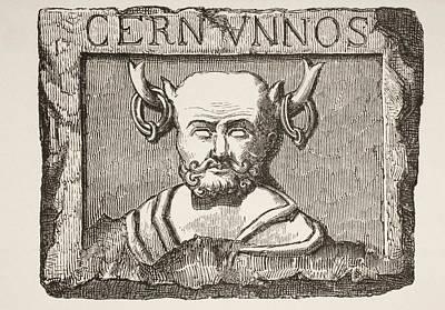 Notre Dame Drawing - The Celtic God Cernunnos, After A by Vintage Design Pics
