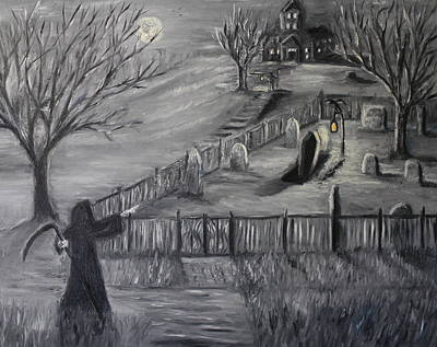 Cemetary Painting - The Cemetary by Daniel W Green