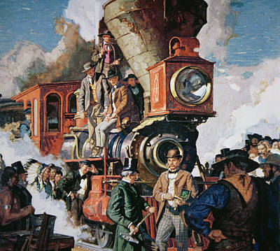 Railway Painting - The Ceremony Of The Golden Spike On 10th May by Dean Cornwall