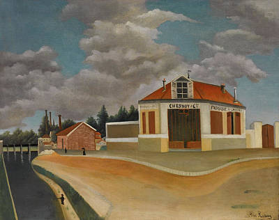 Townscape Painting - The Chairs Factory At Alfortville by Henri Rousseau