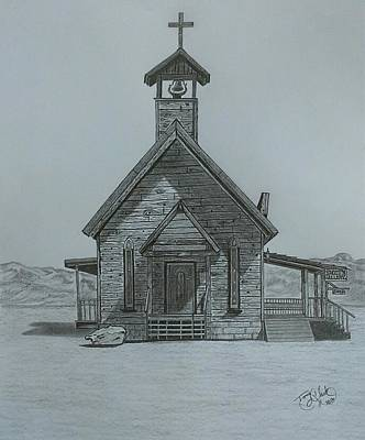 Ghost Towns Drawing - The Chapel  by Tony Clark