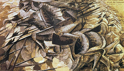 First World War Painting - The Charge Of The Lancers by Umberto Boccioni