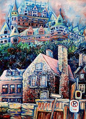 Kids Playing Hockey Painting - The Chateau Frontenac by Carole Spandau