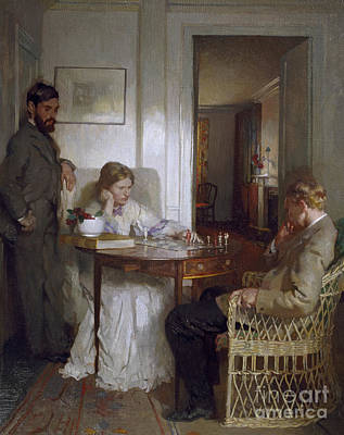 Interior Scene Painting - The Chess Players by Sir William Orpen