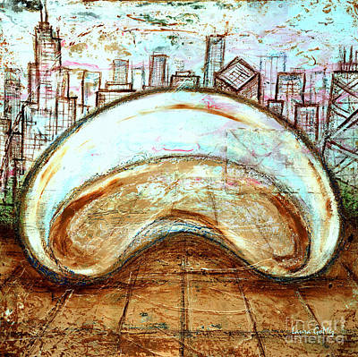 Chicago Skyline Mixed Media - The Bean - Chicago by Laura Gomez