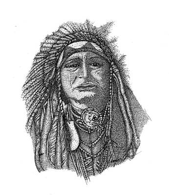 Indian Dance Drawing - The Chief by Jennifer Campbell Brewer