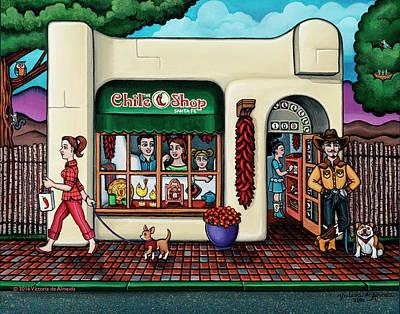 Chihuahua Dog Art Painting - The Chile Shop Santa Fe by Victoria De Almeida