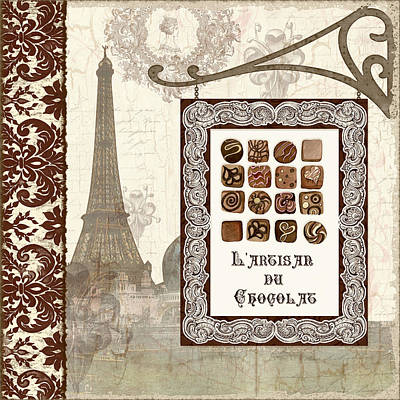 Etching Mixed Media - The Chocolate Artisan - Paris by Audrey Jeanne Roberts