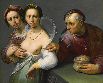 Cornelis Van Haarlem Painting - The Choice Between Young And Old by Cornelis Cornelisz van Haarlem