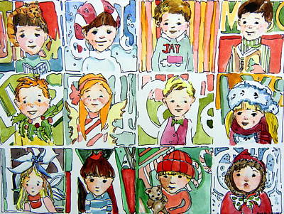 Smiling Jesus Painting - The Christmas Cousins by Mindy Newman