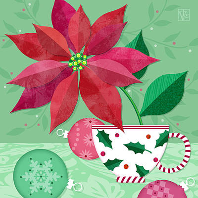 Christmas Greeting Mixed Media - The Christmas Poinsettia by Valerie Drake Lesiak