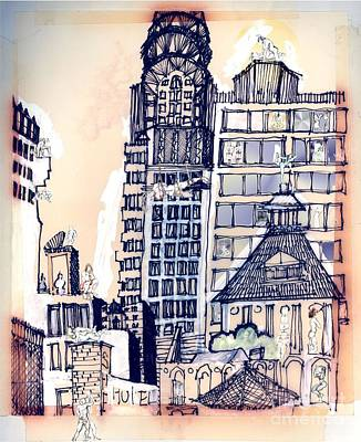 Chrysler Building Mixed Media - The Chrysler Building An Erotic Fantasy by Carolyn Weltman