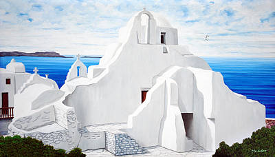 The Church Of Panagia Paraportiani Print by Mary Grden's Baywood Gallery