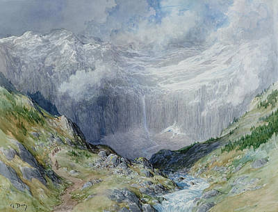 Mountain Valley Painting - The Cirque At Gavarnie by Gustave Dore