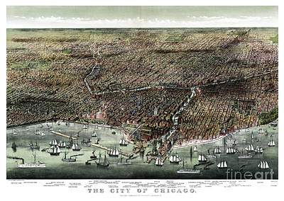 Vintage Map Painting - The City Of Chicago-1892 by Pablo Romero