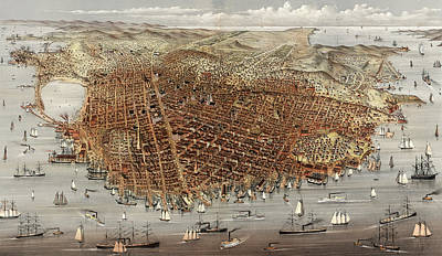 The City Of San Francisco  Birds Eye View From The Bay Print by Currier and Ives