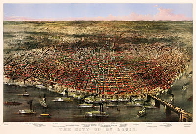 1874 Drawing - The City Of St Louis 1874 by Mountain Dreams