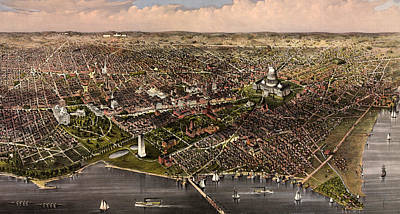 Harbors Drawing - The City Of Washington Birds Eye View From The Potomac, Looking North, Circa 1880 by Currier and Ives