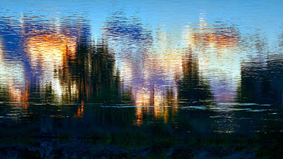 Photograph - Upside-down River Sunset Reflection Of The City by Daniel Furon
